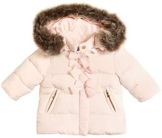 Tartine et Chocolat Hooded Nylon Puffer Jacket W/ Faux Fur