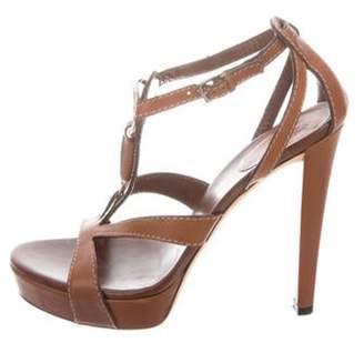 Gucci Leather Platform Sandals Brown Leather Platform Sandals