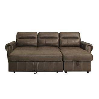 Benjara BM201736 Leatherette Sectional Sofa Set with Pull Out Bed and Storage Chaise