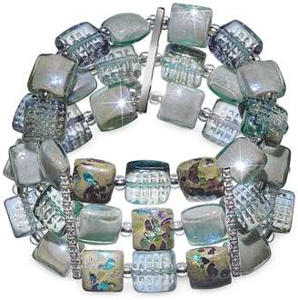 Antica Murrina Atelier Byzantium - Grey Murano Glass & Silver Leaf Stretch Bracelet $302 thestylecure.com