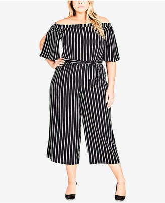 8ce719c47ae City Chic Trendy Plus Size Off-The-Shoulder Jumpsuit