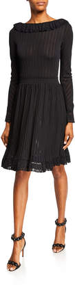 Alaia Ruffle-Trim Long-Sleeve Jersey Dress
