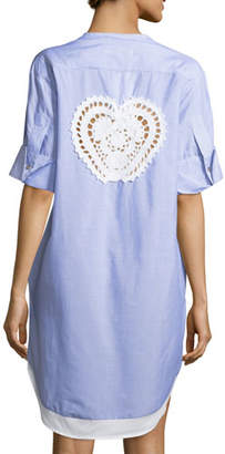 lila.eugenie Pamela Striped Button-Front Cotton Coverup Tunic, One Size