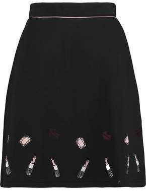 Markus Lupfer Embroidered Neoprene-Jersey Mini Skirt