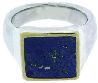 Gurhan 925 Sterling Silver & Palladium Buff Square Lapis Ring Size 10.5
