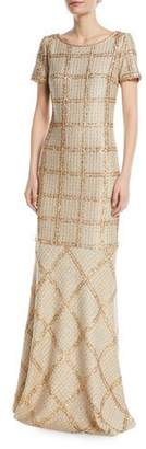 St. John Goldenflag Plaid Knit Sequin Gown