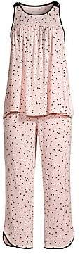 Kate Spade Women's Evergreen Cropped Polka Dot Two-Piece Pajama Set