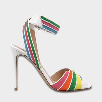 Valentino Rainbow Sandals with Ankle Strap in Multi Suede and Nappa Leathers