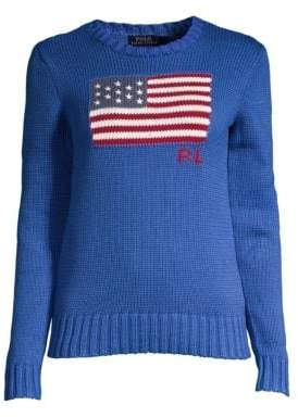 Polo Ralph Lauren Logo Flag Cotton Knit Sweater