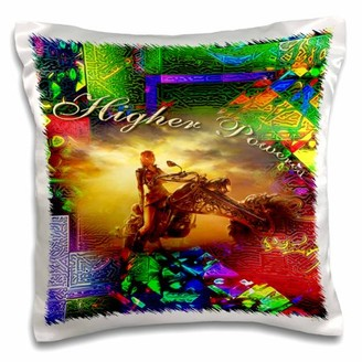 3dRose Higher Powered collage with rainbow and a custom motorcycle with pretty lady a great 12 step gift - Pillow Case, 16 by 16-inch