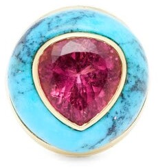 Retrouvai - Lollipop Gold, Turquoise & Tourmaline Ring - Womens - Pink