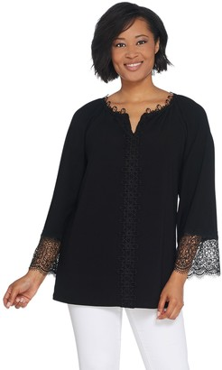 Dennis Basso Caviar Crepe Raglan Sleeve Tunic with Lace Trim