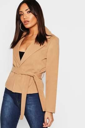 boohoo Crop Belted Wrap Wool Look Coat