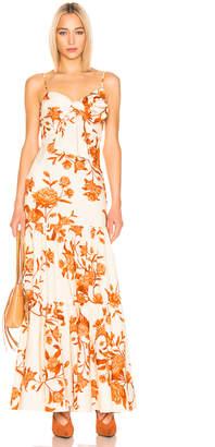 Johanna Ortiz Corazon Pacifico Dress in White & Nectarine | FWRD