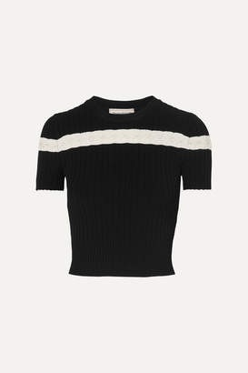 Alexander McQueen Pointelle-trimmed Cable-knit Top - Black