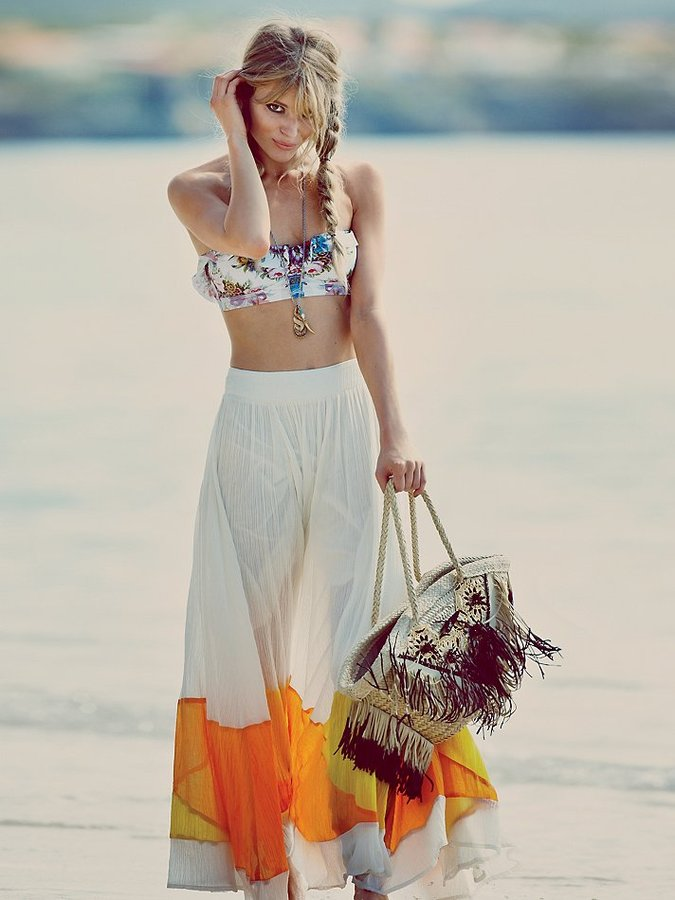 Free People Manina Colorblock Skirt