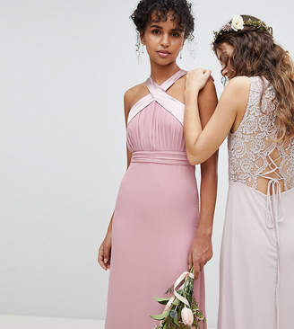 TFNC Bow Back Pleated Maxi Bridesmaid Dress