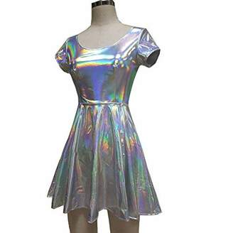 pinda Holographic High Waisted Flare Skater Dress (XL, )