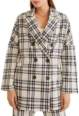 MANGO Mose Checkered Double-Breasted Blazer
