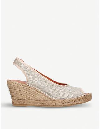 Carvela Comfort Sharon metallic-fabric wedge sandals