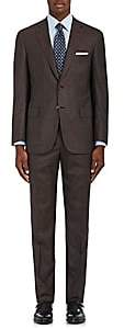 Brioni Men's Brunico Plaid Wool-Silk Two-Button Suit - Brown