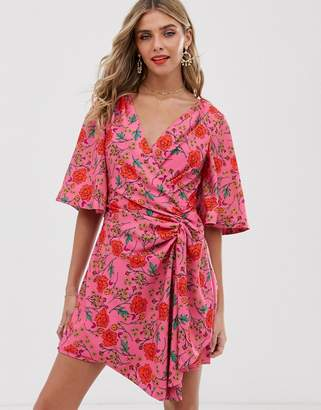 Finders Keepers Hana floral print wrap mini dress