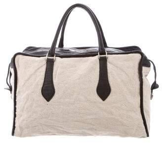 Balenciaga Leather-Trimmed Linen Bag