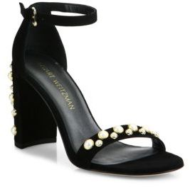 Stuart Weitzman Morepearls Studded Suede Ankle Strap Sandals $455 thestylecure.com