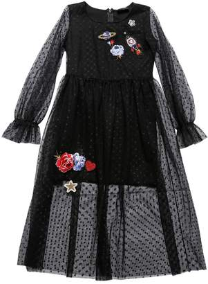 MonnaLisa Swiss Dot Tulle Dress With Patches
