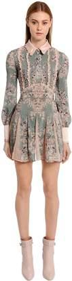 Printed Crepe De Chine & Lace Dress