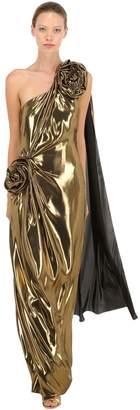 Fluid Lamé Long Dress W/ Rose Details