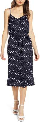 MinkPink Pip Polka Dot Belted Midi Dress