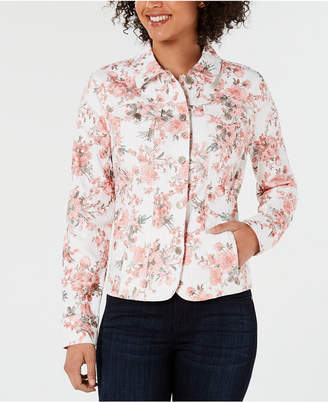 Charter Club Floral-Print Denim Jacket