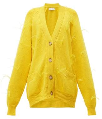 Marques Almeida Marques'almeida - Ostrich Feather Trim Cotton Cardigan - Womens - Yellow