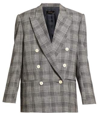 Isabel Marant Deagan Checked Exaggerated Shoulder Wool Blazer - Womens - Dark Grey