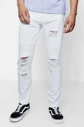 boohoo Skinny Fit Rigid Biker Jeans With Ripped Knees