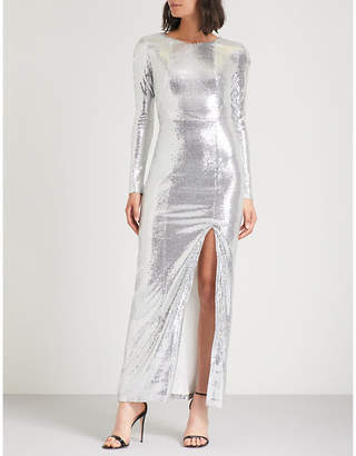 Galvan Adela side-split sequinned maxi dress