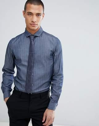 Asos DESIGN slim herringbone shirt with double cuff & cutaway collar in navy