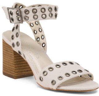 Grommet Stacked Heel Sandals