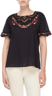 Karl Lagerfeld Paris Embroidered Ruffle Blouse
