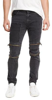 Just Cavalli Straight-Leg Patchwork Moto Jeans with Zippers $525 thestylecure.com