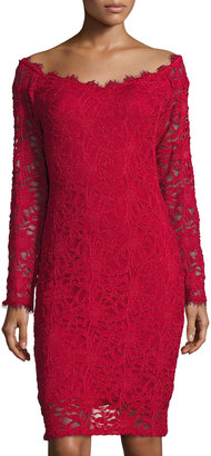 Marina Long-Sleeve Off-the-Shoulder Lace Dress, Red $99 thestylecure.com