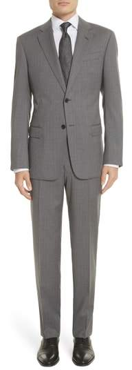 Trim Fit Sharkskin Wool Suit