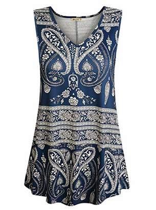 Cyanstyle Womens Sleeveless V Neck Floral Flowy Tank Top Print Flowy Tunic Shirts (
