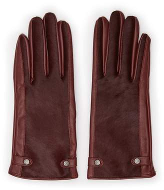 Reiss Jessica - Dents Leather Gloves in Ox Blood