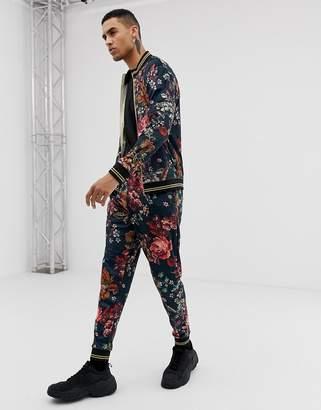 Jaded London joggers in velvet floral print