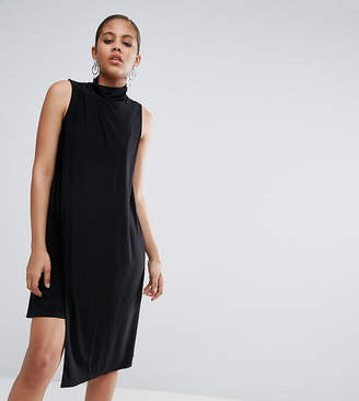 Asos Tall TALL Slinky High Neck Shift Dress With Asymmetric Hem