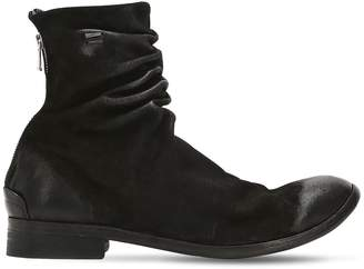 Wrinkled Washed Leather Ankle Boots
