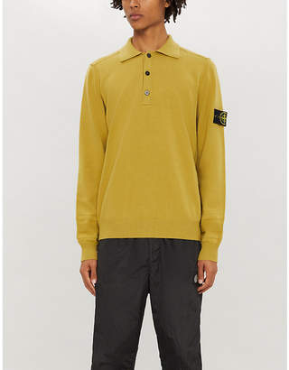 Stone Island Long-sleeved wool-blend polo shirt