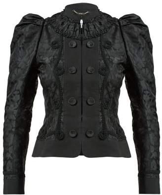 Erdem Lucia Single Breasted Jacquard Jacket - Womens - Black
